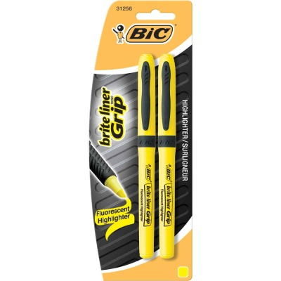 Bic Brite Liner Grip Chisel Tip Yellow Highlighter (2-Pack)