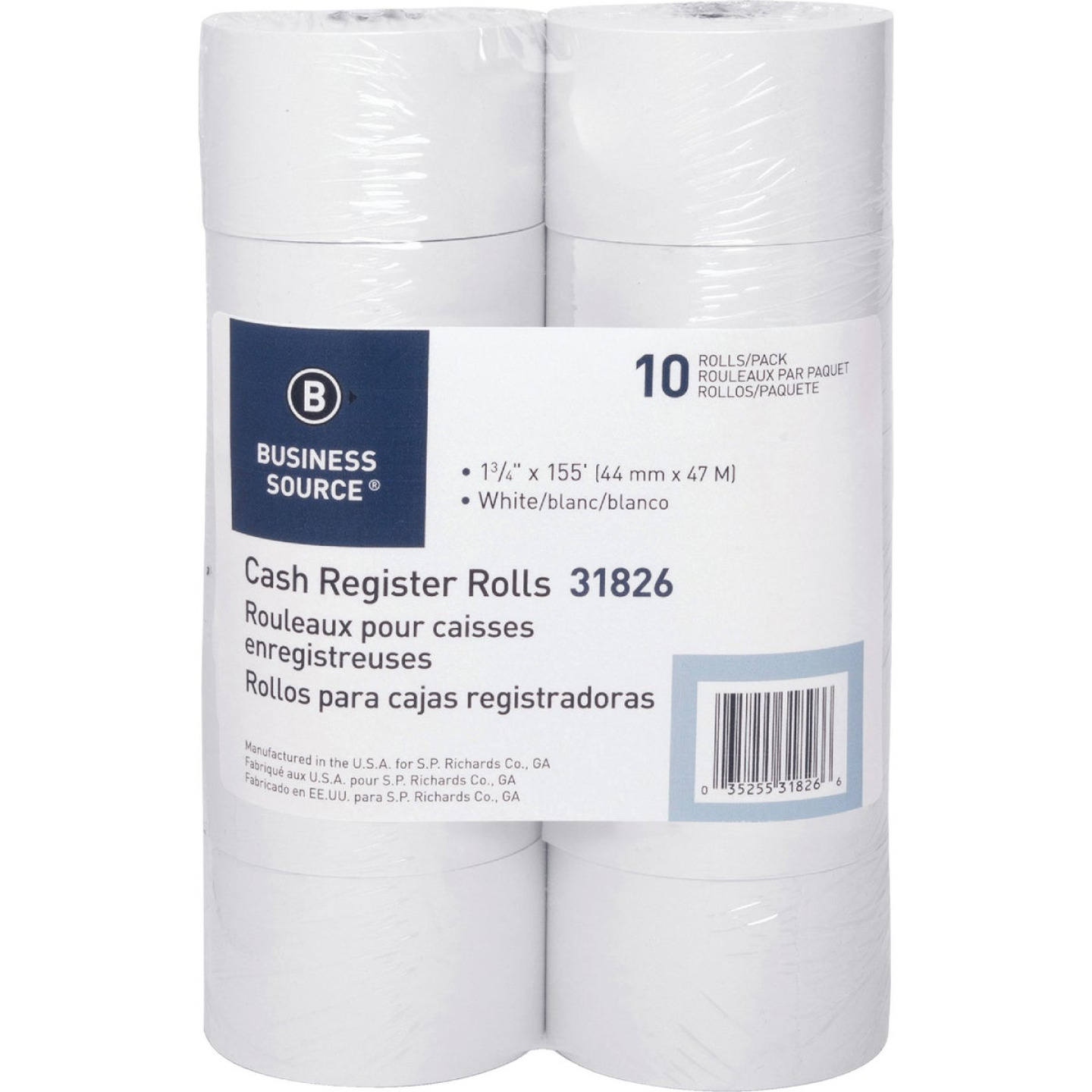 Business Source 1-3/4 In. x 155 Ft. White Roll Paper (10-Pack) Image 1